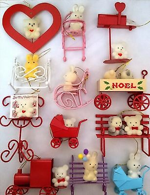 Lot Of 12 Vintage Avon Teddy Bear And Bunny Holiday Ornament Gift Collection