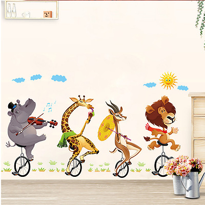 Animal forest lion bike large wall stickers decals room Wall Sticker Kids Room