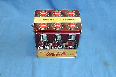 Vintage Handy to Carry Home Coca Cola Tin With Wire Handle and Wood Grip 1999