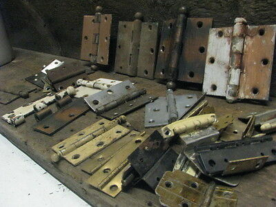Salvaged Vintage Door and Cabinet Hardware Brass hinges, Cannonball, Victorian