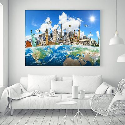 Abstract Travel World Map Silk Canvas Poster Fabric Paint Art Wall Decor 07A