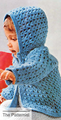 Vintage Crochet Pattern for Baby Cardigan with Hood Infant Hooded Sweater Jacket