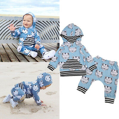 Newborn Infant Baby Boy Girl Clothes Hooded Tops Coat Pants Outfits Set Leopard