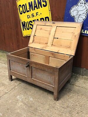 Original Antique Solid Pine Blanket Chest - Toy Box - Coffer!!