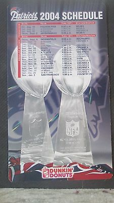 New England Patriots 2004 Dunkin Donuts  Season Magnet Schedule- 2 Titles-