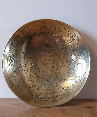 Antique Chinese brass bowl etched with dragons