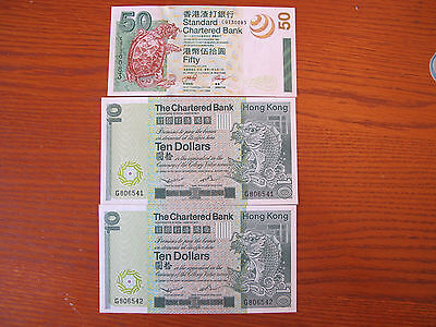 Hong Konk The Chartered Bank 1980 $10 x 2 & 2003 $50 - Gem Uncirculated