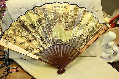 "Vintage Oriental Gold Fan Wall Decor, Hand Painted Appox 21"" Across and 13"" Tall"