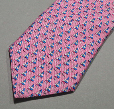 Tommy Hilfiger Pink Mens Necktie With Sailboat and Seagulls 100% Silk Tie