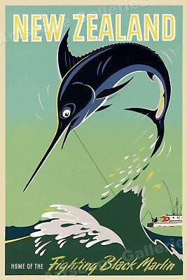 1950s New Zealand - Black Marlin Vintage Style Fishgin Travel Poster - 20x30