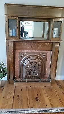 Antique Tiger Oak, Empire Column, Bookcase Mantle with Leaded Glass
