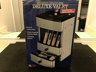 Magnif Brushed Stainless Deluxe Valet Motorized Coin Sorter