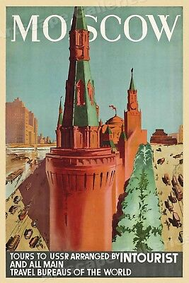 "1930s ""Moscow"" Intourist Vintage Style Soviet Russia Travel Poster - 20x30"