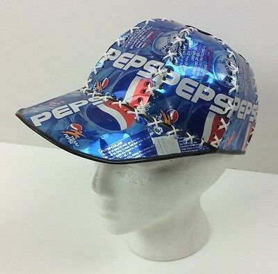 Scarce Vintage Team  Pepsi Soccer Hat Made of Pepsi Cola Cans from Vietnam