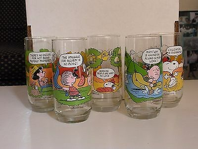 "Set Of 5 Vintage Peanuts Glasses From Mcdonalds 6"" Tall Camp Snoopy Collection"