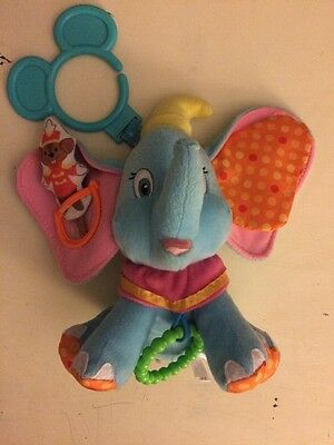 Disney Plush Dumbo Crinkle Rattle Hang Toy Baby EUC