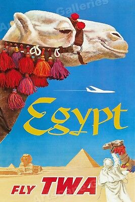 1960's Egypt Fly TWA Classic Airline Vintage Style Travel Poster - 20x30