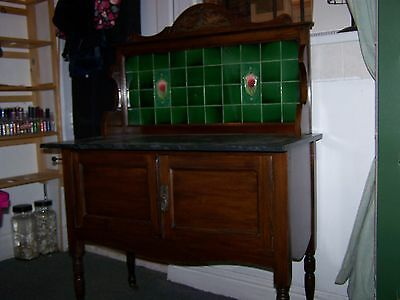 Beautiful Victorian Antique Wash Stand With Black Marble Top On Castors
