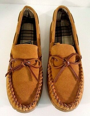Mens Brown Genuine Suede Indoor/Outdoor Moccasin Slippers - Size M (9-10) - NWT