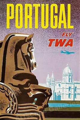 "1962 ""Portugal - Fly TWA"" Vintage Style Air Travel Poster - 20x30"