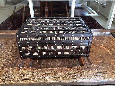 Antique Victorian Ebony Large Porcupine Quill Jewelry Trinket Box With 9 Trays