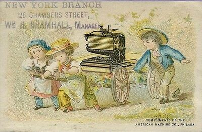 Victorian Trade Card American Machine Co, NY Branch, Children with Cart, Fluter
