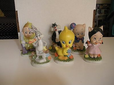 Vintage 1979 Set of 6 Ceramic Looney Tunes Characters Tweety Bird Very HTF
