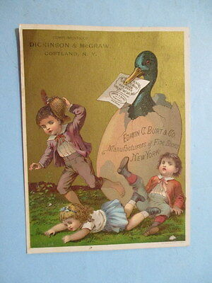 """ANTIQUE TRADE CARD, """"BURT'S SHOES """", SOLD BY DICKINSON & McCRAW, CORTLAND, NY"""