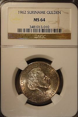 1962 Suriname Gulden NGC MS 64                   ** FREE U.S SHIPPING **