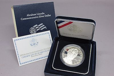 2009-P Abraham Lincoln Commemorative Silver Dollar Proof Coin w/ Mint Box &  COA