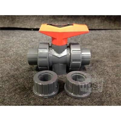 "+GF+ 161 546 342 PVC True Union Ball Valve, 1/2"" w/Socket and Threaded Ends"