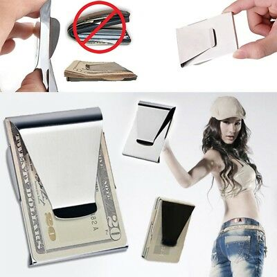 Double Sided Credit Cash Clamp Card ID Stainless Steel Wallet Money Clip Slim