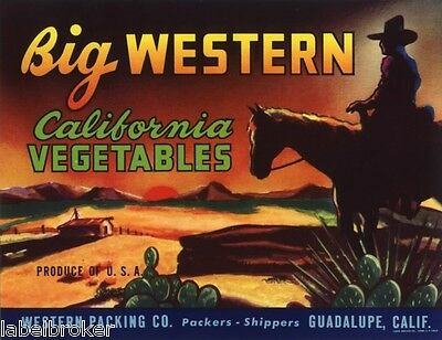 Crate Label Vintage  Big Western Cowboy Horses Original Country Rodeo C1950 Ca
