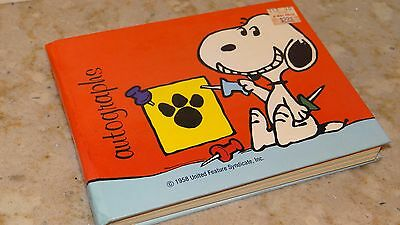 Vintage Peanuts Gang Snoopy Autograph Book Butterfly Originals 1970s Unused