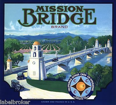 Genuine Orange Crate Label Riverside County 1930S Mission Bridge Rubidoux Cars
