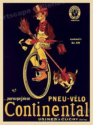 """Continental Pnue-Velo"" Tramp Classic French Art Print Poster - 18x24"