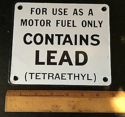 Gasoline Pump Porcelain Sign ~ Contains Lead ~ Paper Label on Back!