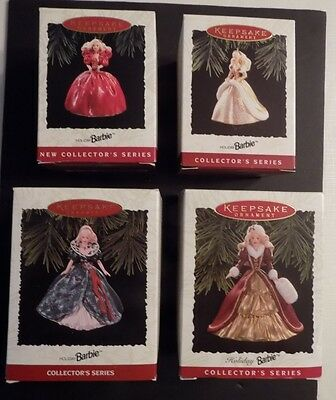 "NIB: Lot of 4 Hallmark ""Holiday Barbie Collector's Series"" (1993-1996)"