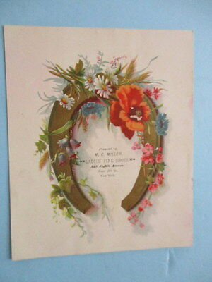 """Antique Trade Card """"ladies' Fine Shoes"""" , M.c. Miller, 555 Eight Ave, New York"""