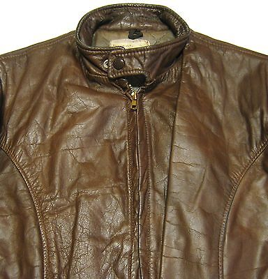 "VINTAGE 70s ""GENUINE LEATHER"" BROWN CAFE RACER MOTORCYCLE JACKET. MADE IN USA.42"