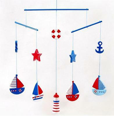 Hanging Sail Boat Wooden Cot Mobile Kids Room Nursery Childrens Nautical