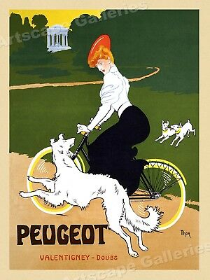 Peugeot Bicycles 1905 Vintage Style Bicycle Dog Poster - 18x24