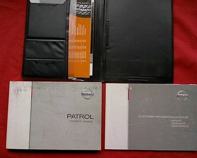 2003 Nissan GU series PatrolOwners instruction Manual book set & cover.