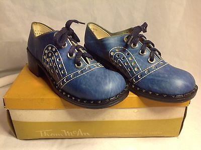 1960s NEW Thom McAn Blue Chunky Heel Platform Lace Up Oxford Shoes Womens 7.5