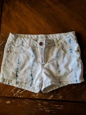 CHEROKEE Girls L White Blue Watercolor Jean Shorts Great Condition