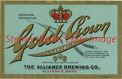 Pre-Pro Alliance Brewing Co. Gold Crown Export Beer Bottle Label Alliance OH