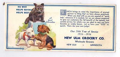 1936 Advertising Ink Blotter New Ulm Minnesota Grocery Co. Dogs & Cat