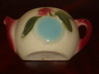 "Vintage Teapot With Fruit Wall Pocket 6 3/4"" W X 3 1/2"" T"