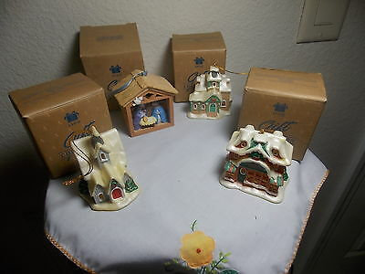 Avon Gift Collection First Christmas Nativity Church House Toy Shoppe - Set of 4