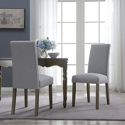 NEW Set of (2) Kitchen Dinette Dining Room Chair Elegant Design Armless, Gray
